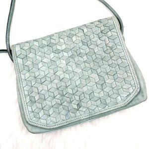 Anthro Day & Mood Mint Geometric Woven Crossbody